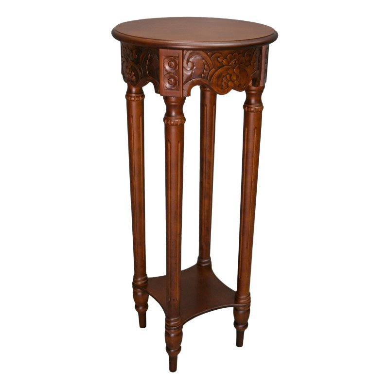 International Caravan Carved Round Tall Plant Table in Brown Stain