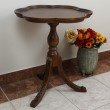 International Caravan Carved Scalloped Round Table in Brown Stain