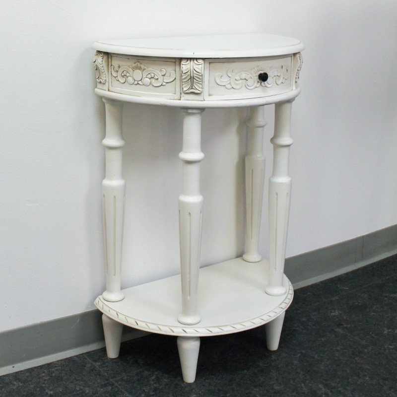 International Caravan Carved Small 1/2 Moon 2-Tier Wall Table in Antique White