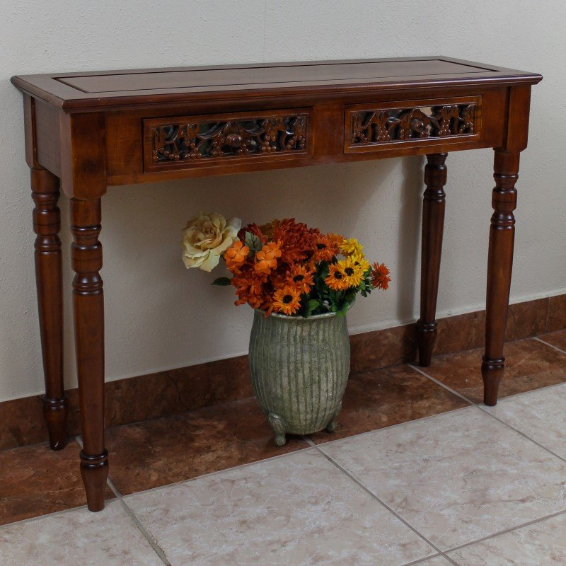 International Caravan Carved Two Drawer Table in Brown Stain