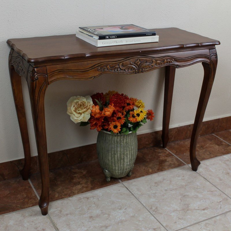 International Caravan Carved Wood Console Table in Brown Stain