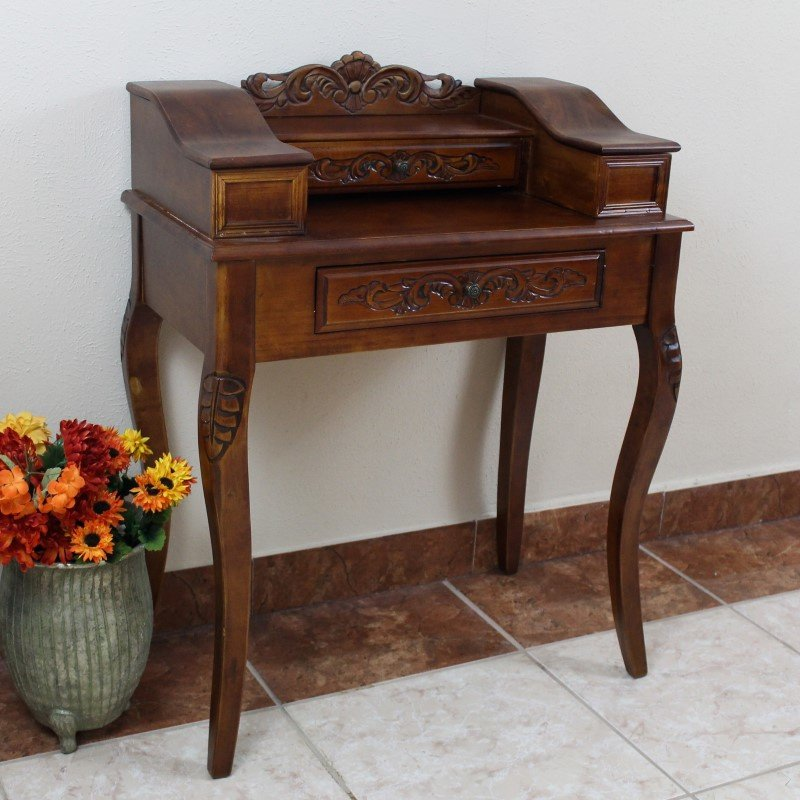 International Caravan Carved Wood Two Drawer Telephone Table in Brown Stain