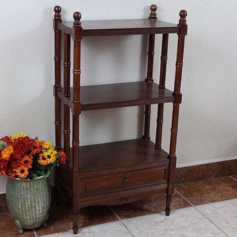International Caravan Carved Wood Windsor 3-Tier Bookshelf in Stain