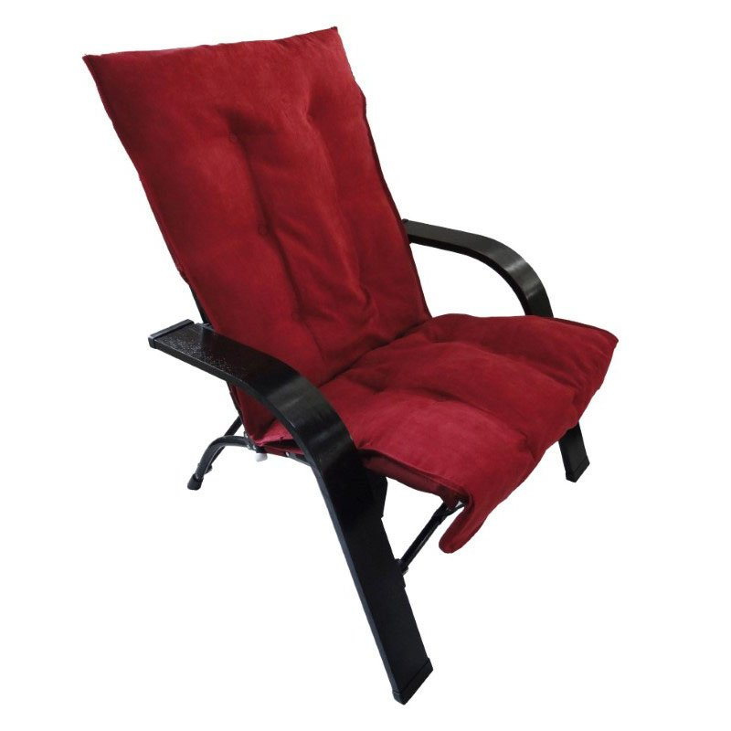 International Caravan Folding Chair with Wooden Arms in Cardinal Red