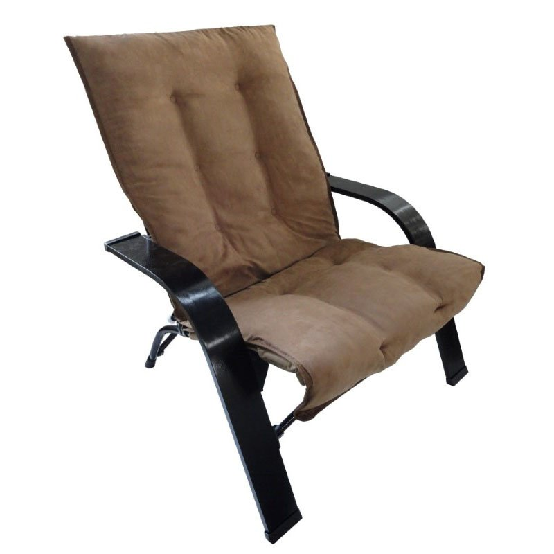 International Caravan Folding Chair with Wooden Arms in Saddle Brown