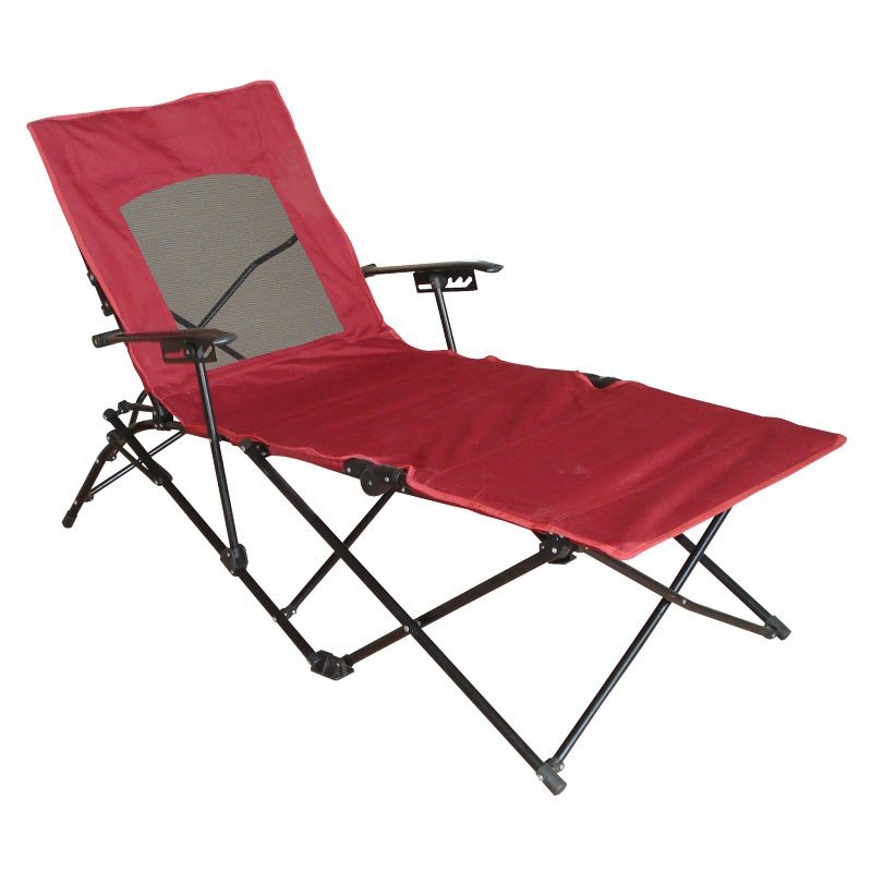 International Caravan Folding Chaise Lounge Chair in Cardinal Red