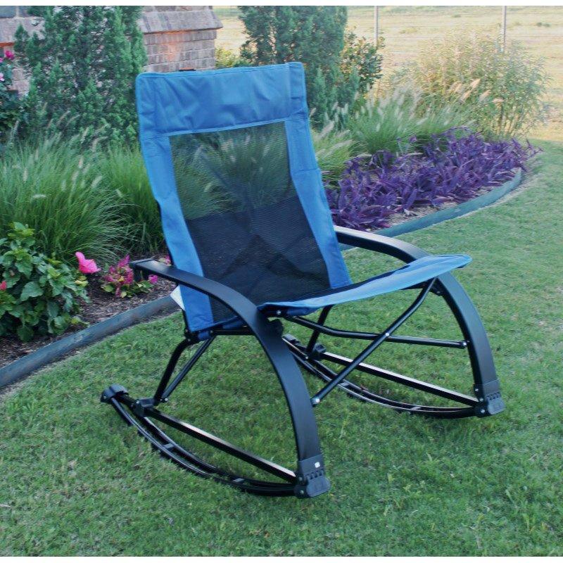 International Caravan Folding Indoor/Outdoor Rocker in Indigo Blue