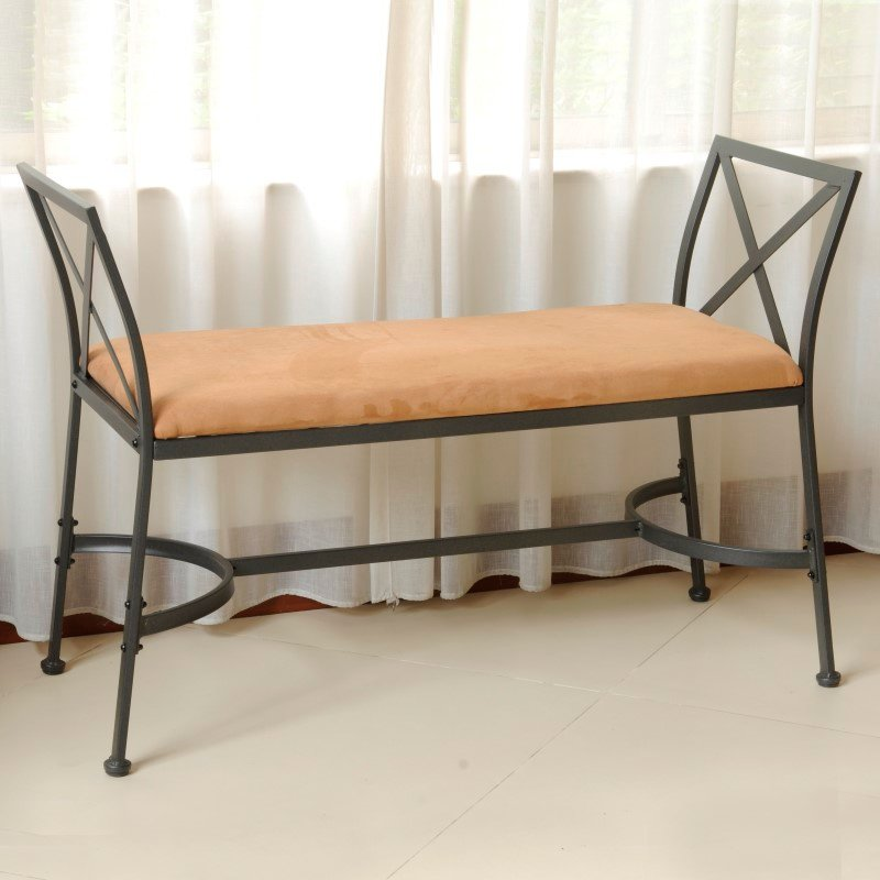 International Caravan Foot-Of-Bed Bench with Cushion in Saddle Brown