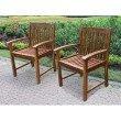 International Caravan Highland 2-Piece Acacia Hudson Arm Chair in Brown
