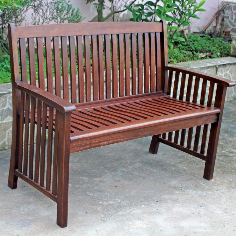 International Caravan Highland Acacia Denver Two Seater Park Bench in Brown