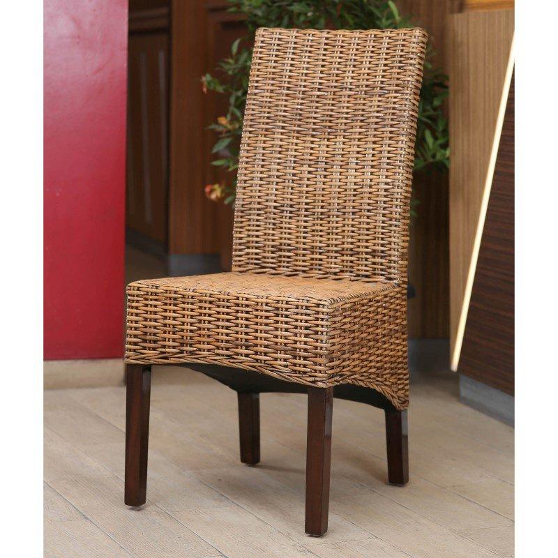 International Caravan Java Rattan Dining Chair (Set of 2) in Salak Brown