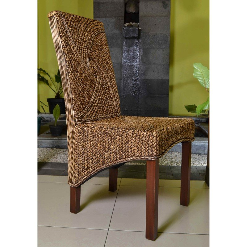 International Caravan Lambada Hyacinth Spiral Design Chair (Set of 2) in Salak Brown