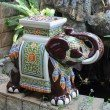 International Caravan Large Porcelain Elephant Stool in Brown Mix
