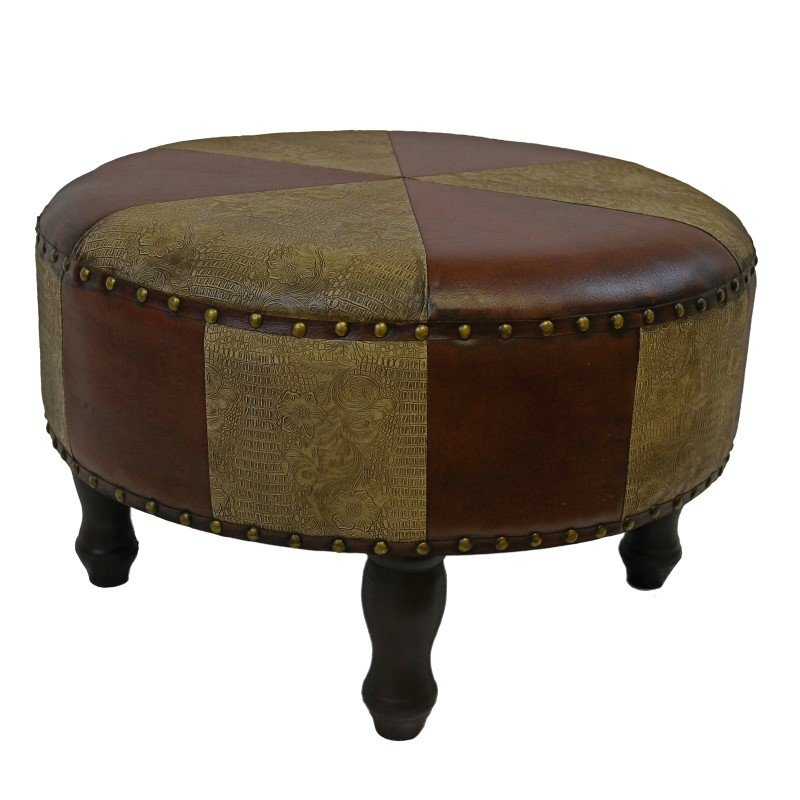 International Caravan Large Round Faux Leather Stool in Mixed Patch Work