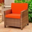 International Caravan Lisbon Resin Wicker Contemporary Deep Seat Chair with Cushion in Antique Brown