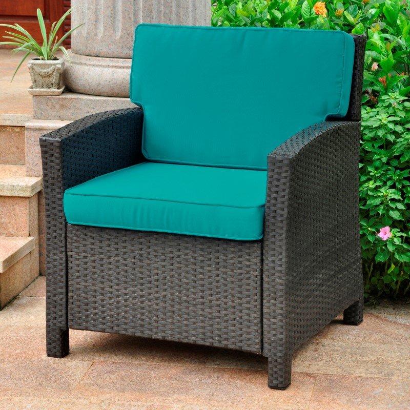 International Caravan Lisbon Resin Wicker Contemporary Deep Seat Chair with Cushion in Black Antique