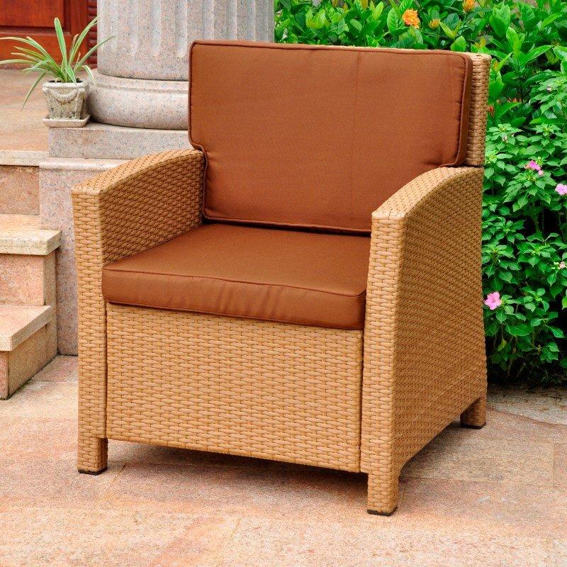 International Caravan Lisbon Resin Wicker Contemporary Deep Seat Chair with Cushion in Honey