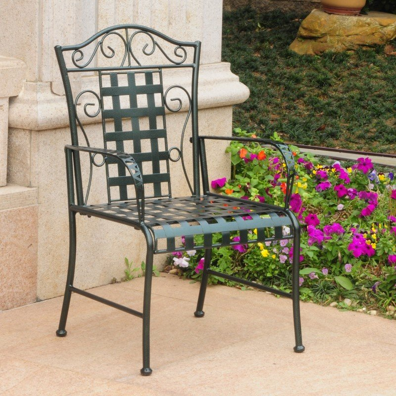 International Caravan Mandalay 2-Piece Iron Chairs in Verdi Green