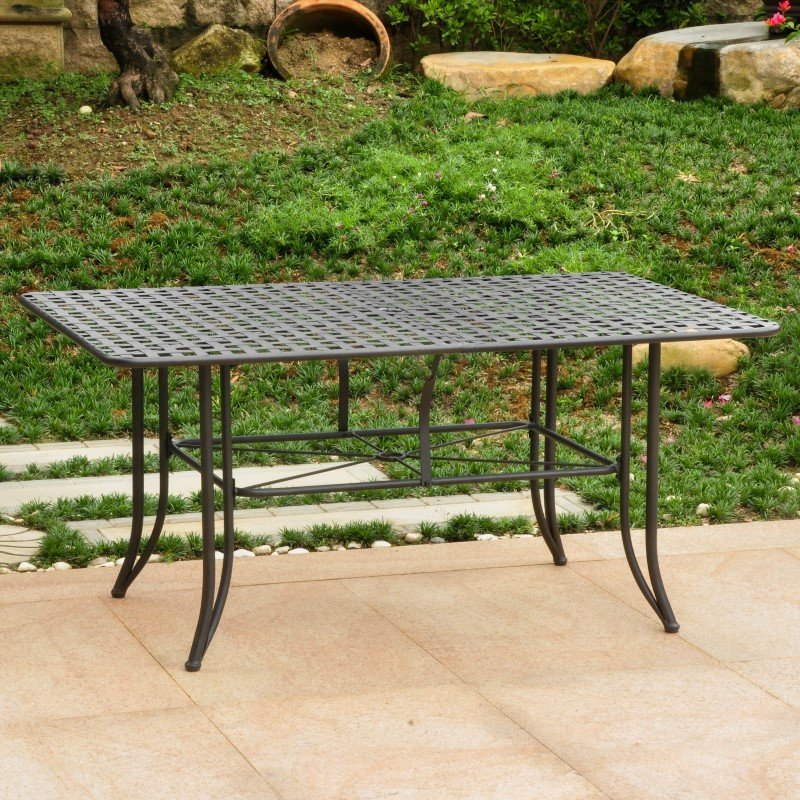 "International Caravan Mandalay Iron Outdoor 60"" Dining Table in Antique Black"