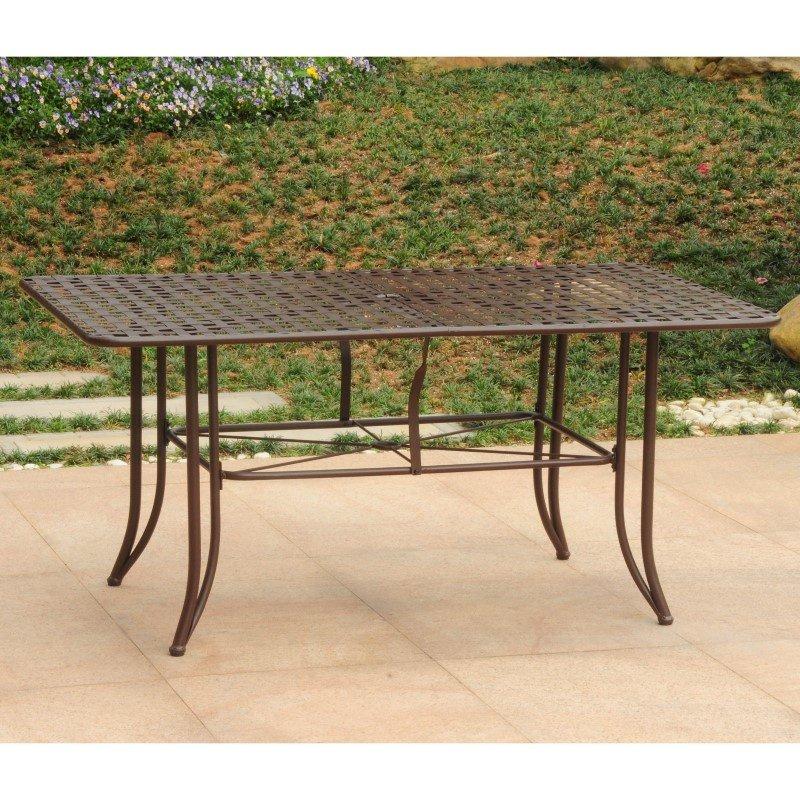 "International Caravan Mandalay Iron Outdoor 60"" Dining Table in Rustic Brown"