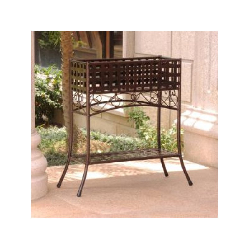 International Caravan Mandalay Iron Rectangular Plant Stand in Bronze