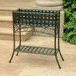 International Caravan Mandalay Iron Rectangular Plant Stand in Verdi Green