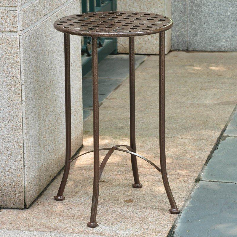 International Caravan Mandalay Iron Round Table in Bronze