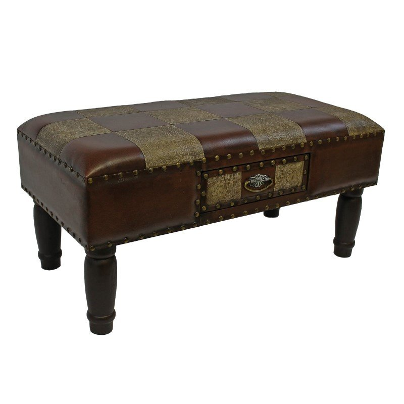 International Caravan Medium One Drawer Faux Leather Bench in Mixed Patch Work