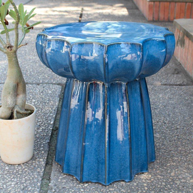 International Caravan Navy Blue Round Scalloped Ceramic Garden Stool in Navy Blue Glaze
