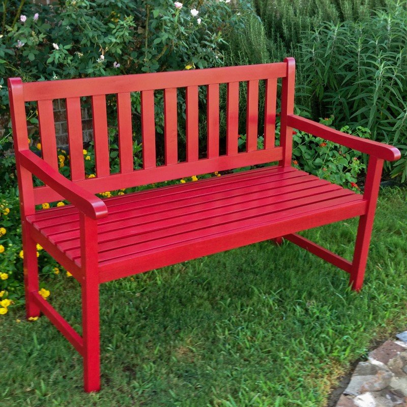 International Caravan Outdoor 4' Wood Bench in Red