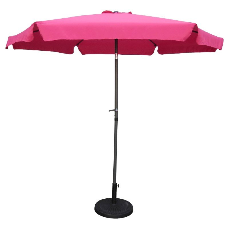 International Caravan Outdoor 9' Aluminum Umbrella with Flaps in Bery Berry and Dark Grey