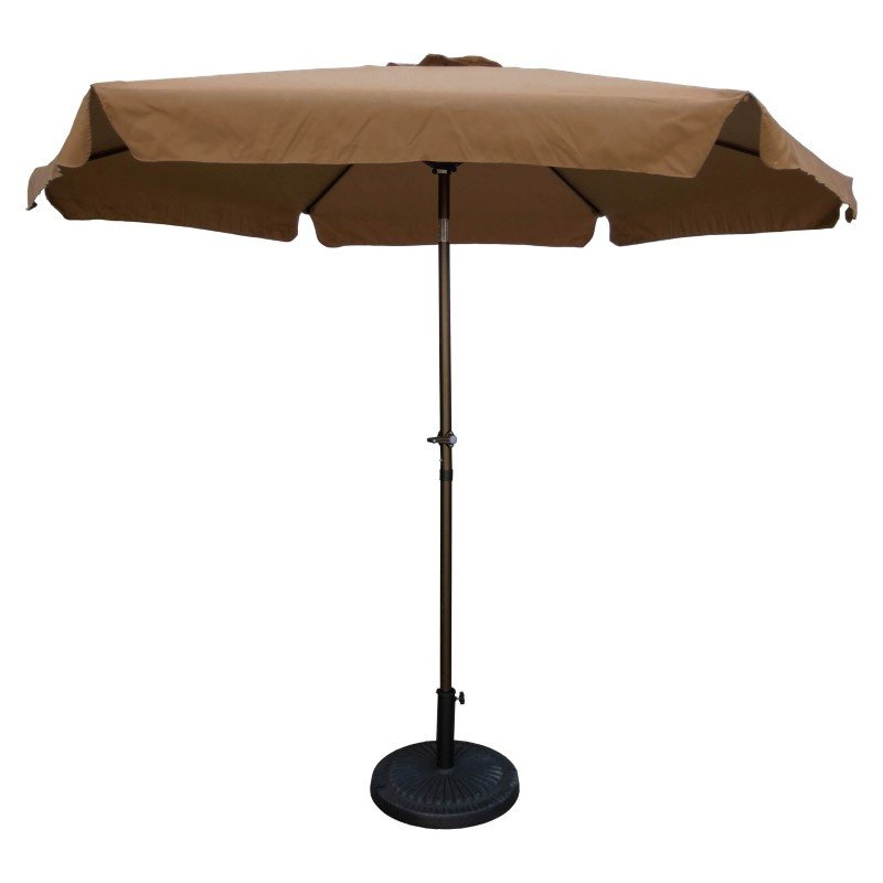 International Caravan Outdoor 9' Aluminum Umbrella with Flaps in Chocolate and Coffee