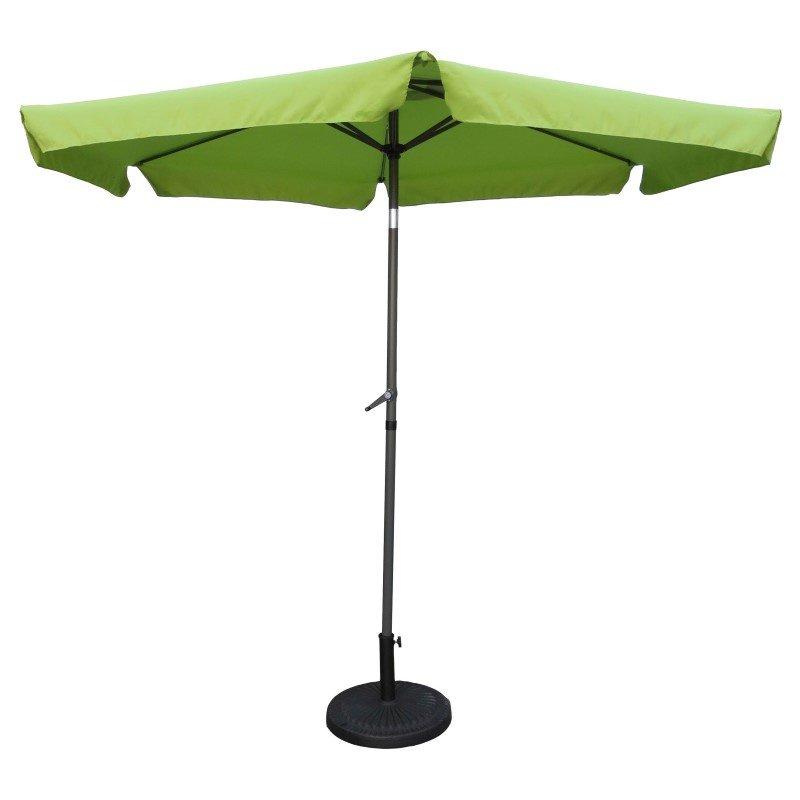 International Caravan Outdoor 9' Aluminum Umbrella with Flaps in Grass Green and DarkGrey