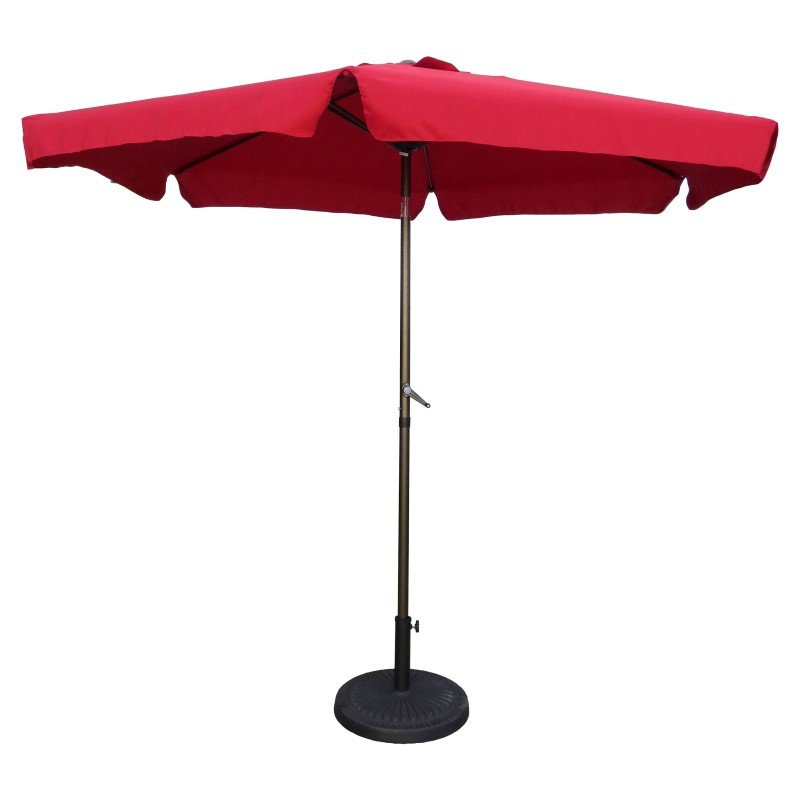 International Caravan Outdoor 9' Aluminum Umbrella with Flaps in Ruby Red and Bronze