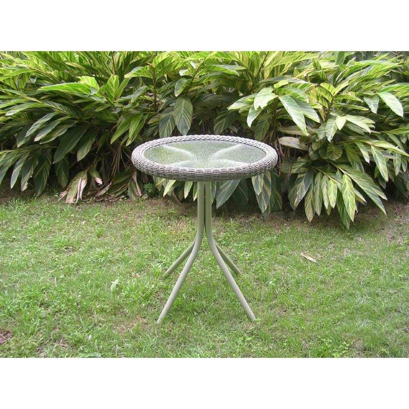 International Caravan Outdoor Resin Wicker and Glass-top Bistro Table in Antique Moss