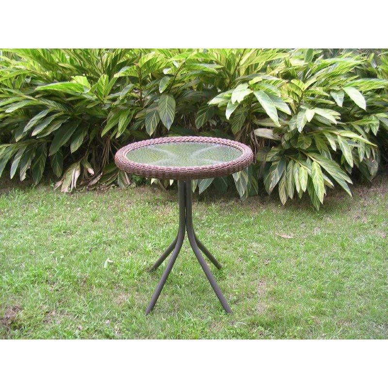 International Caravan Outdoor Resin Wicker and Glass-top Bistro Table in Mocha