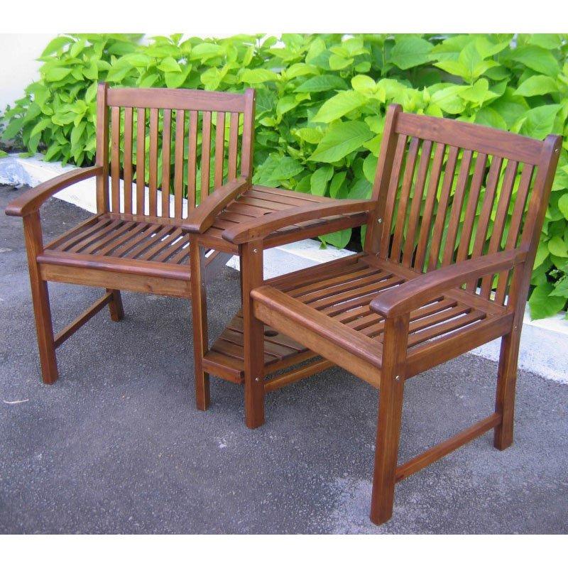 International Caravan Outdoor Wood Corner Double Chair in Brown