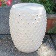 International Caravan Perforated Antique White Drum Ceramic Garden Stool in Antique White Glaze