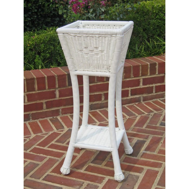 International Caravan PVC Resin Square Two-Tier Plant Stand in White
