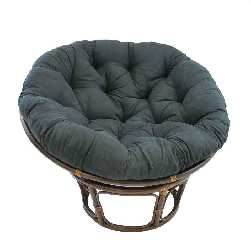 """International Caravan Rattan 42"""" Papasan Chair with Micro Suede Cushion in Black"""