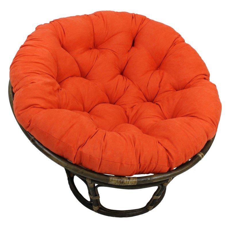 """International Caravan Rattan 42"""" Papasan Chair with Micro Suede Cushion in Tangerine Dream"""