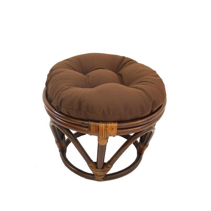 International Caravan Rattan Footstool with Twill Cushion in Chocolate