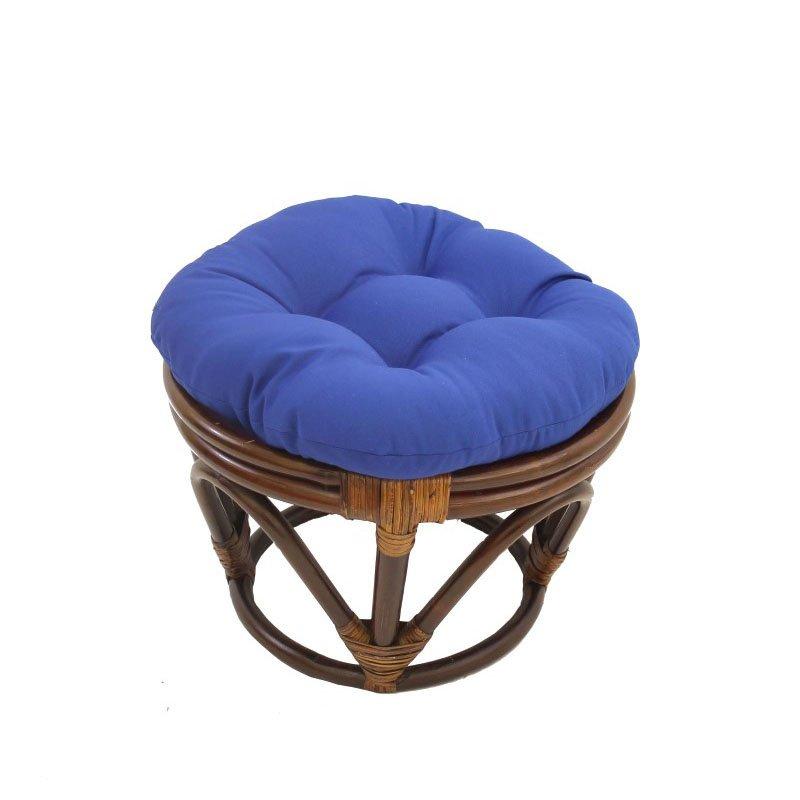 International Caravan Rattan Footstool with Twill Cushion in Royal Blue