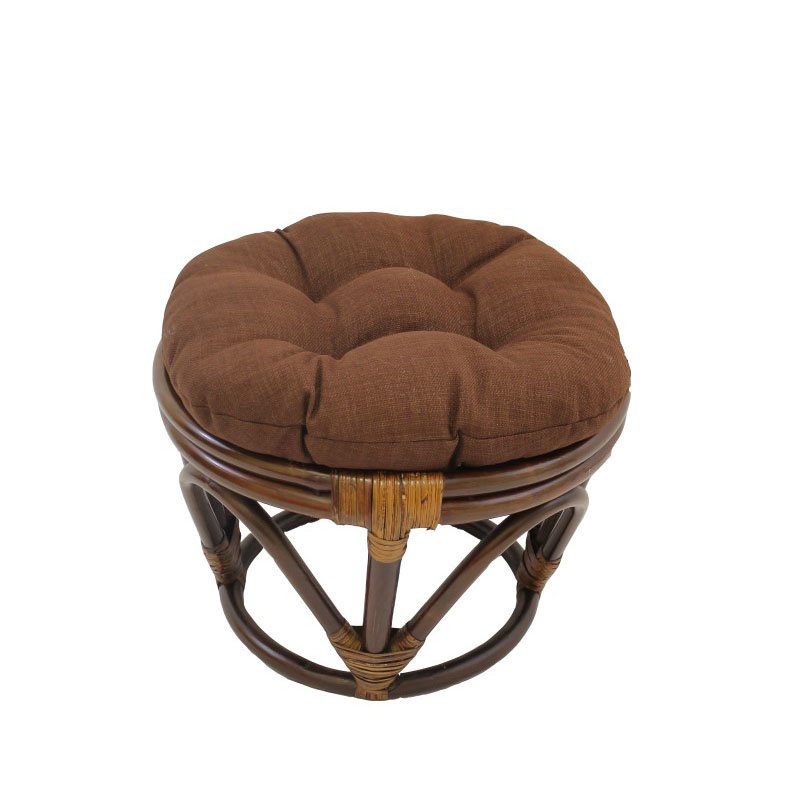 International Caravan Rattan Ottoman with Fabric Cushion in Cocoa