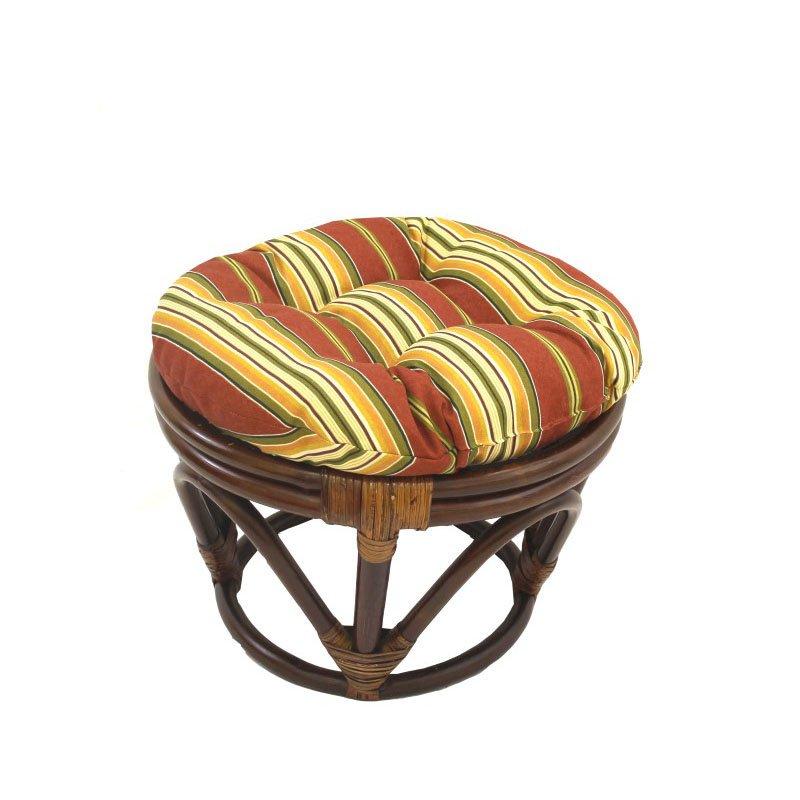 International Caravan Rattan Ottoman with Fabric Cushion in Kingsley Stripe