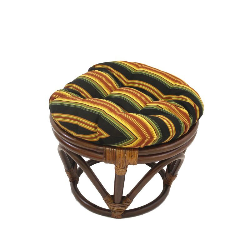 International Caravan Rattan Ottoman with Fabric Cushion in Lyndhurst Raven