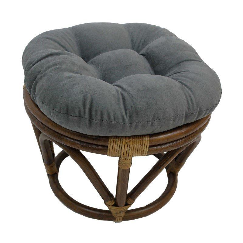 International Caravan Rattan Ottoman with Micro Suede Cushion in Grey
