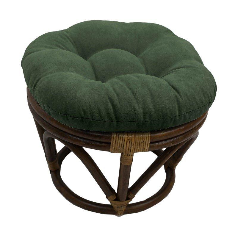 International Caravan Rattan Ottoman with Micro Suede Cushion in Hunter Green