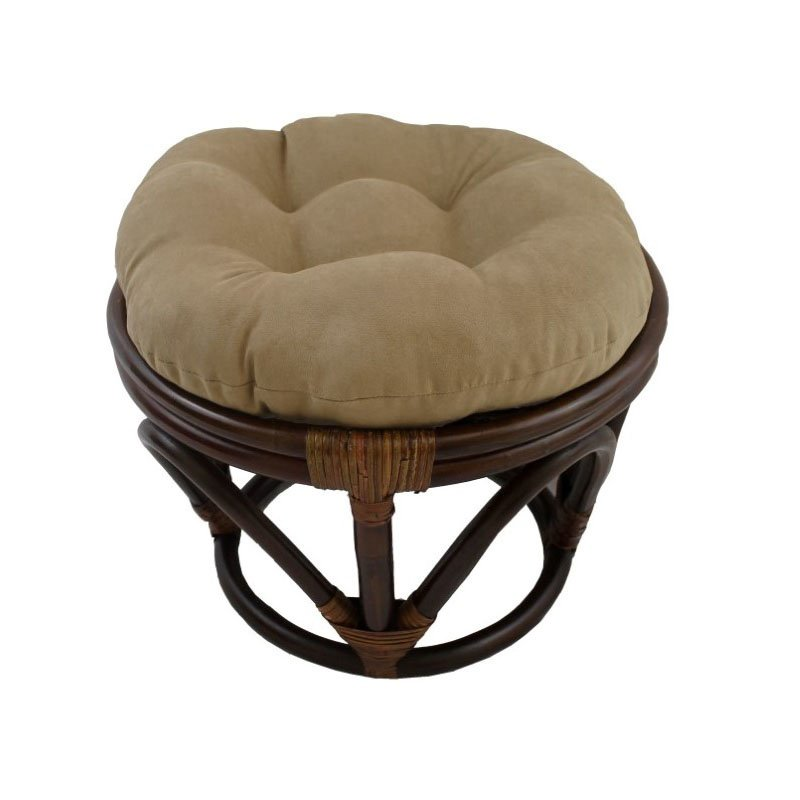 International Caravan Rattan Ottoman with Micro Suede Cushion in Java