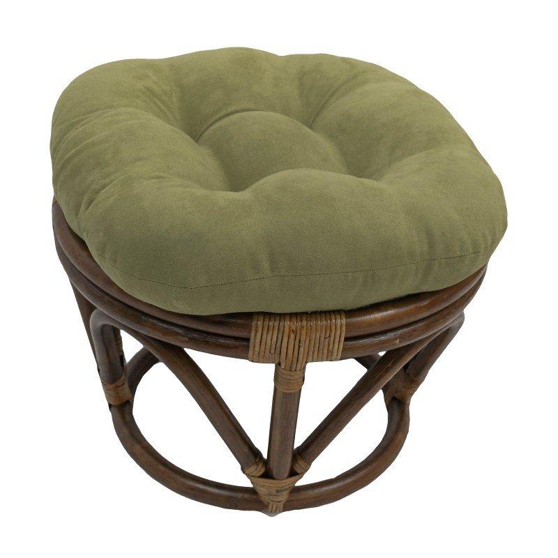International Caravan Rattan Ottoman with Micro Suede Cushion in Sage